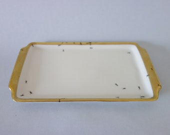 Chitins Gloss - Plate - Vintage Porcelain - Handpainted With Ants