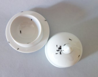 Chitins Gloss - Bowl - Vintage Porcelain - Handpainted With Ants