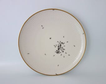 "wall plate ""Chitins Gloss"" vintage porcelain handpainted with ants"