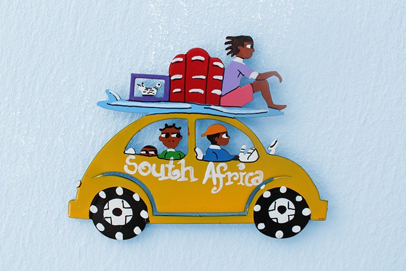 Crafted in metal and hand-painted by traditional South African artists this magnetic Beetle epitomises freedom and fun in the African sun