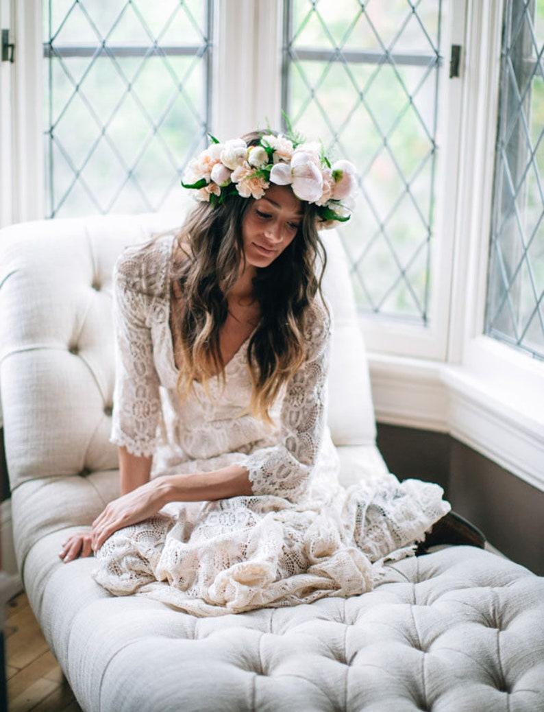 Boho wedding dress Lace wedding dress Hippie wedding dress image 0