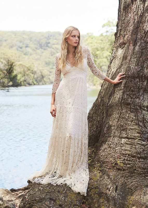 Boho wedding dress, Lace wedding dress, Hippie wedding dress, Vintage  wedding dress, Bohemian wedding, Astrid dress by Kite and Butterfly