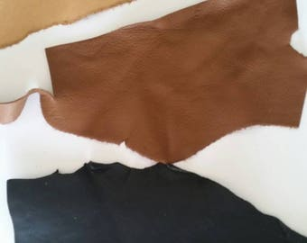 Leather Scraps - craft leather - Tan leather scrap - book leather - bag leather - leather pieces - Australian leather