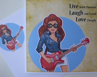 Greeting Card - Live with Passion, Rock Chick, Inspire, Diamontes, Guitar