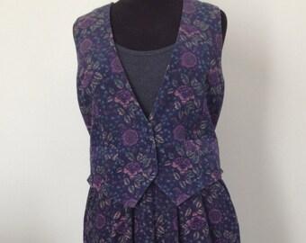 Overall pants, vest Laura Ashley vintage 80's, liberty