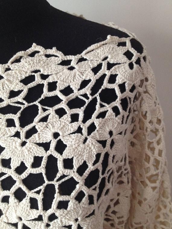 Ecru Crochet Tunic Size Medium Vintage 90s