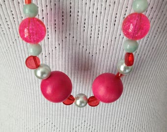 Fashion necklace, vintage, various beads, pink, long beads