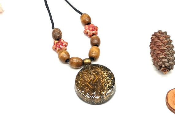 Orgone Pendant Kenaz of Protection Magical Rune Jewelry Orgon Increases Value Skills Necklace Pink Celtic Rune Amber of Development Creative