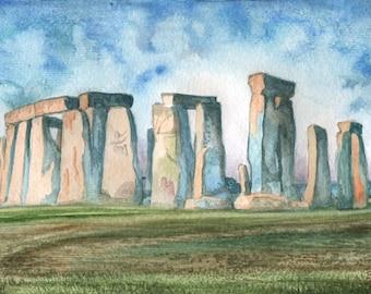 Stonehenge ORIGINAL watercolor painting, English landscape by David Platt, FREE shipping