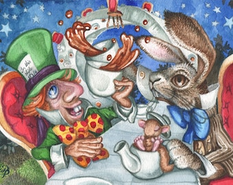 Mad Hatter's Tea Party Watercolour Painting, Alice in Wonderland Watercolour Painting