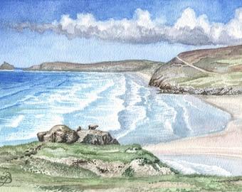 Perranporth Beach in Watercolour, Cornwall in Watercolour