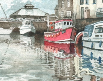 Padstow Harbour in Watercolour, Cornish Harbour Painting