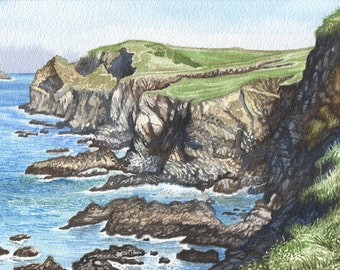 Cliff of Trevone in Watercolour, Cornwall in Watercolour