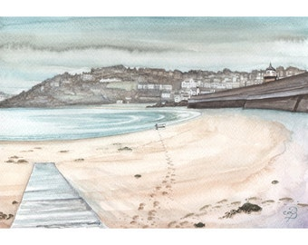 St Ives Harbour painting in watercolour, St Ives Painting