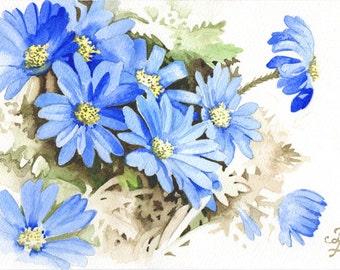 Anemone Blanda Blue in Watercolour, Original Watercolour Painting