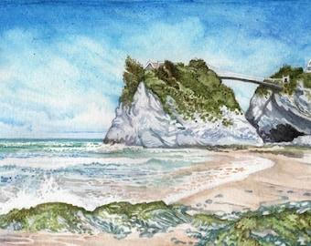 Towan Beach in Watercolor, Towan Island in Watercolour
