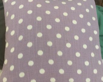 Purple polka dot pillow cover