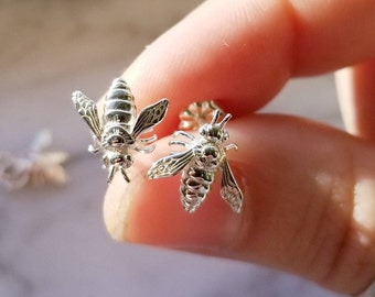 Honey Bee Earrings- Sterling Silver Bee earrings, Studs, Insect Earrings, Boho Jewelry, Bee Jewelry, Stud Earrings, Gifts for her, Nature
