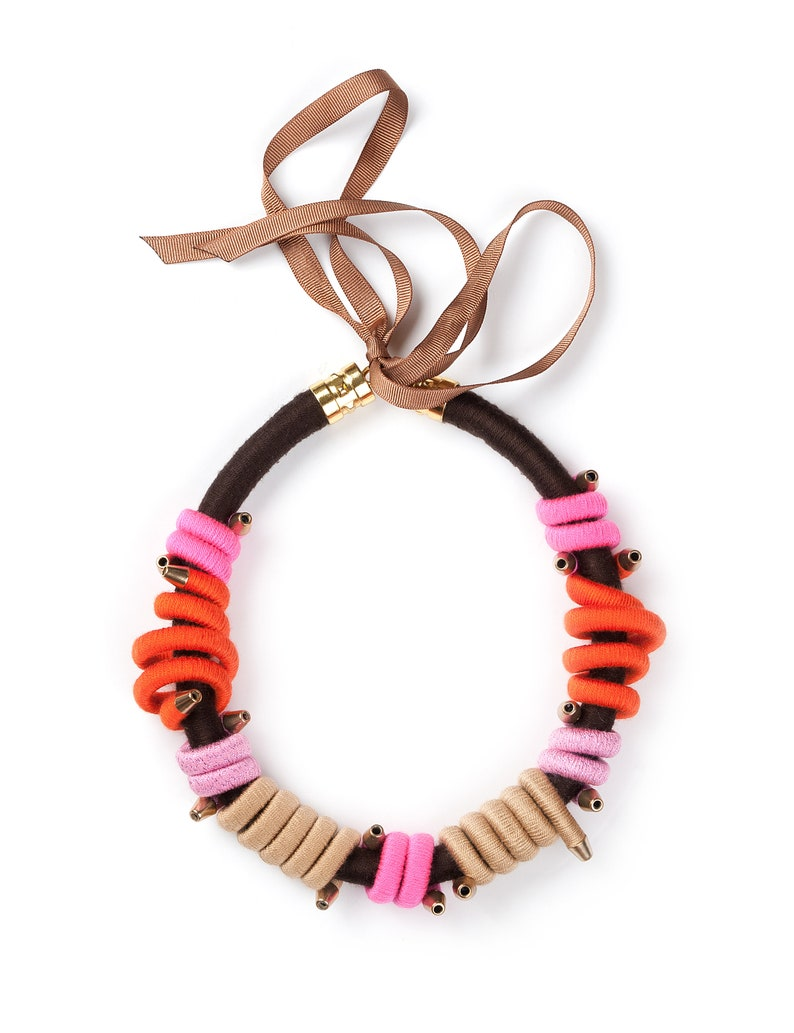Birthday Gift For Woman Pink Brown Fiber Necklace Statement Rope Necklace Rope Choker Orange Gift For Her