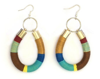 Statement Earrings, Rope Statement Earrings, Tribal Earrings, Color Block Earrings, African inspired Earrings