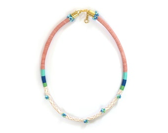 Nautical Rope Necklace, Color Block Necklace, Colorful Thread Wrapped Necklace, Elegant Cord Necklace