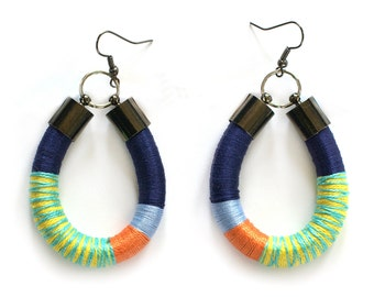 Colorful Tribal Earrings, Statement Rope Earrings, Funky Earrings, Color Block Earrings, African Style Earrings