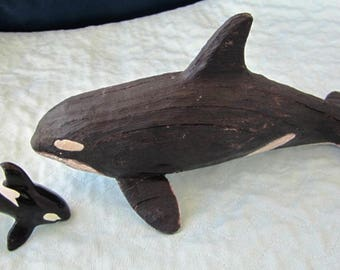 Baleine de bois sculpté Shamu et Willy, baleines, poissons, animaux marins