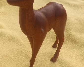 Handcarved Wood Deer Figurine - Signed