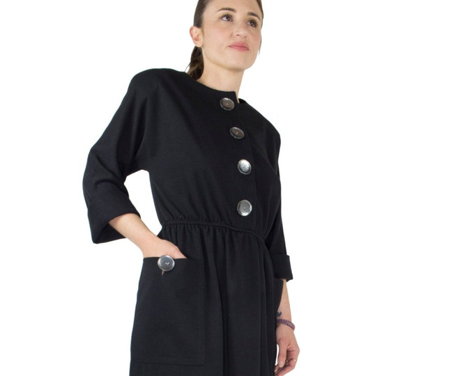 Vintage 80s Black Wool Dress with Pockets | Cool Oversized Buttons | Long Sleeve Midi | Size 12 | Witch Goth Chic | LBD
