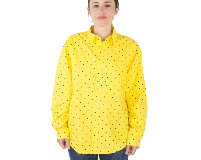 Vintage 90s Calvin Klein Yellow Polka Dot Button-down Shirt | Minimalist Preppy | Boho Chic | Punk Grunge Top