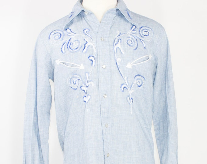 50s Vintage H Bar C Western Shirt | Woven Blue with Embroidered Design | Size Large | Rockabilly Cowboy Grunge Workwear