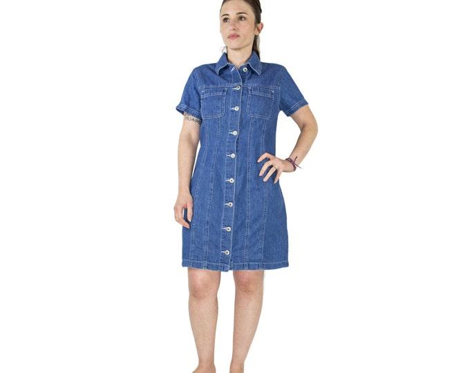 Vintage 90s Blue Denim Dress | Short Summer Button-down Dress | Size Medium | 1990s Jean Dress