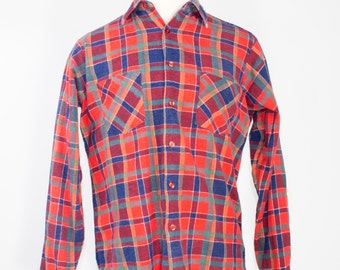 80s Vintage Flannel Shirt   Red, Green and Blue Plaid Cotton Top   Size Medium   Grunge Workwear   Boho Chic