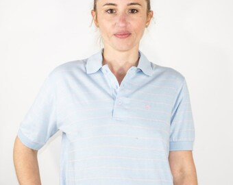 Vintage 80s Christian Dior Polo | Baby Blue and Pink Stripe Shirt | Size Small