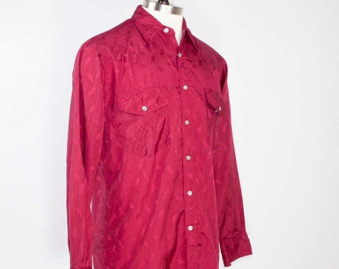 70s Vintage Western Shirt | Burgundy Cowboy Shirt with Leaf Print and Pearl Snap Buttons | Size Large | Retro Workwear Grunge Rockabilly