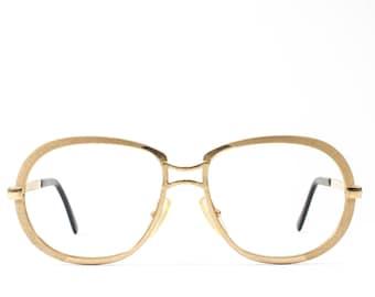 Vintage Glasses | 60s Eyeglasses | Round Eyeglass Frame | 1960s Gold Eyewear - Ren 288
