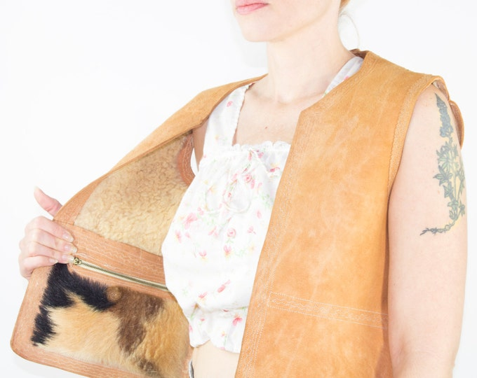 50s Vintage Leather Vest | Wool and Cow Hair Lining | Size Medium