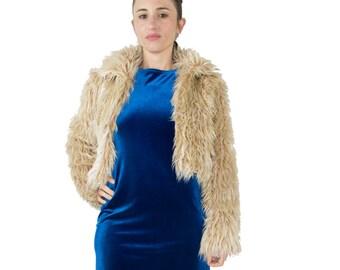 90's Vintage Bebe Shaggy Faux Fur Crop Coat   Brown Fur Jacket   Size Small   Grunge Clothes   Boho Chic   Punk Style