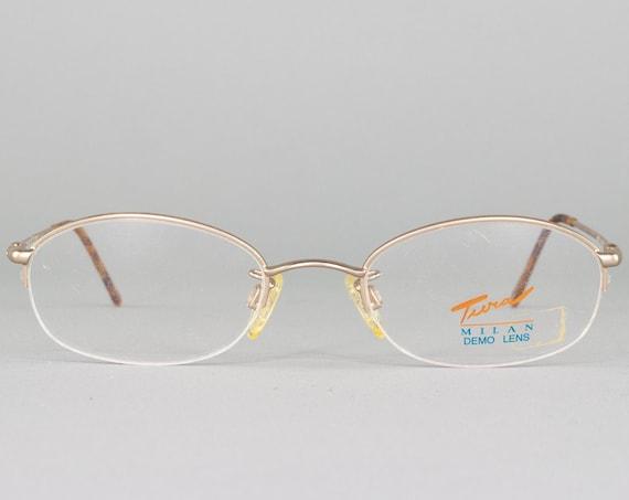 1990s Vintage Eyeglass Frame | 90s Glasses | Oval Gold Eyeglasses | Deadstock Eyewear | 90s Aesthetic - N100