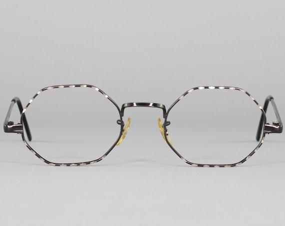 60s Vintage Eyeglasses   Black Octagonal Eyeglass Frame   1960s Hudson Optical Glasses   Made in USA   60s Deadstock
