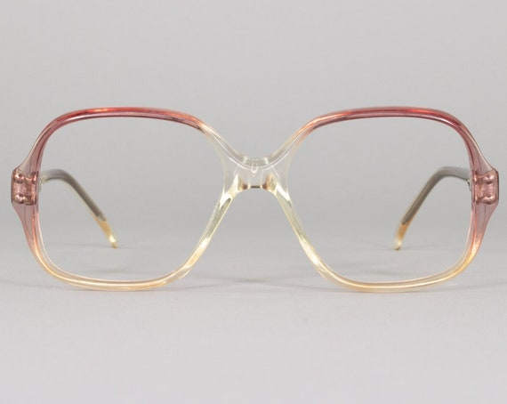 Vintage Eyeglasses | 80s Glasses | Clear and Purple Frame | Square Eyeglass Frame | 1980s Aesthetic | Deadstock Eyewear - 5020