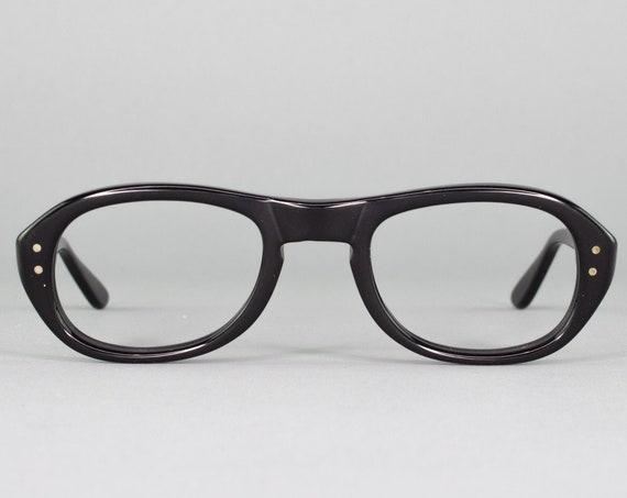 1970s Vintage Glasses | Black Eyeglass Frame | 70s Aviator Eyeglasses| Made in USA | 70s Deadstock - Swan Black