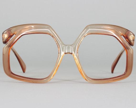 Vintage Eyeglasses | Oversized 70s Glasses | Clear Brown Frame | 1970s Aesthetic | Deadstock Eyewear - Rose Brown