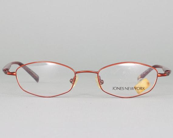90s Vintage Eyeglasses | 1990s Glasses | Oval Glasses Frames | Red Eyeglass Frame | Vintage Deadstock - M737