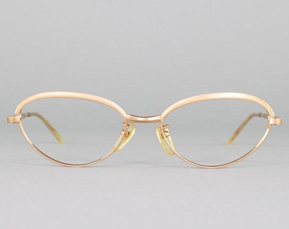 Vintage Cateye Eyeglass Frame | 60s Glasses | 1960s Gold Cateye Eyeglasses | Gold Plated | Deadstock Eyewear