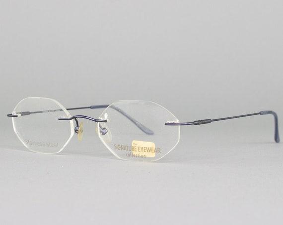 Vintage Eyeglasses | 90s Glasses | Deadstock Eyewear | Octagonal 1990s Eyeglass Frame | 90s Aesthetic - Edison