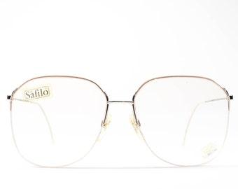 Vintage Glasses | Minimalist 80s Eyeglasses | Peach 1980s Eyeglass Frames | Ultra Lightweight - UFO 3511