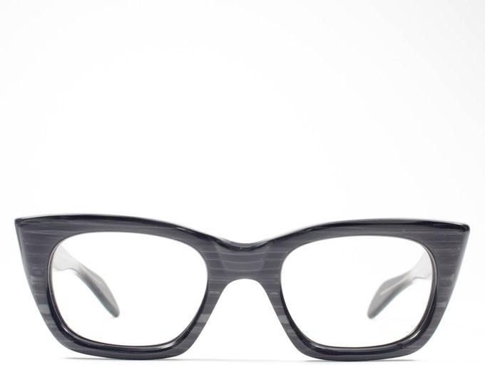 Vintage Eyeglasses | 60s Cateye Glasses | Black Woodgrain Eyeglass Frame | 1960s Deadstock Graceline Eyeglasses - Wolf