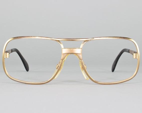 Vintage 70s Glasses | Gold Glasses | 1970s Eyeglass Frame | Made in Germany | Dead Stock Eyewear - Metzler 7610 Gold