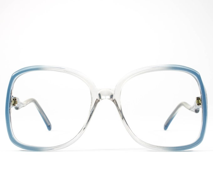 70s Glasses | Vintage Eyeglasses | 1970s Oversized Glasses Frames | Blue Clear Eyeglass Frame - Genova 9918